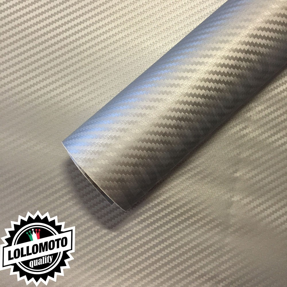 Carbonio 3D Grigio Silver Pellicola Adesiva Rivestimento Auto