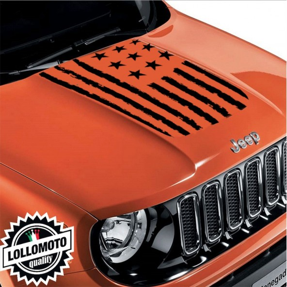 Striscia Adesiva Bandiera America Rovinata Cofano Jeep Renegade  Fuoristrada Adesivi Stickers Fiancate Aut Decal