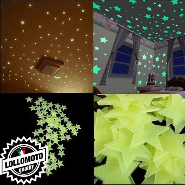 Kit 100pz Stelle Fluo Camera Bambini Cameretta Fluorescenti Decorazioni Wall Interior