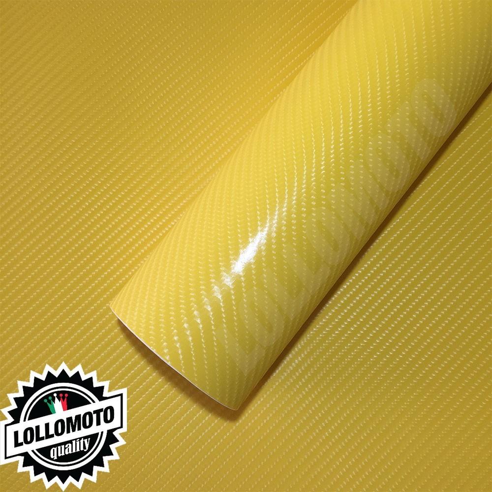 Carbonio 4D Gialla Pellicola Adesiva Rivestimento Auto Car