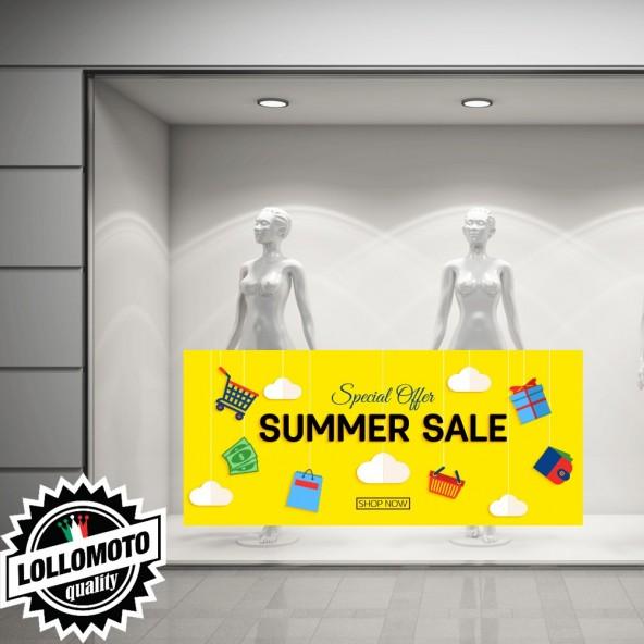 Adesivo Saldi MASSIVE Vetrofania Summer Sales Allestimento Vetrine Estate Adesivi Stickers Decal