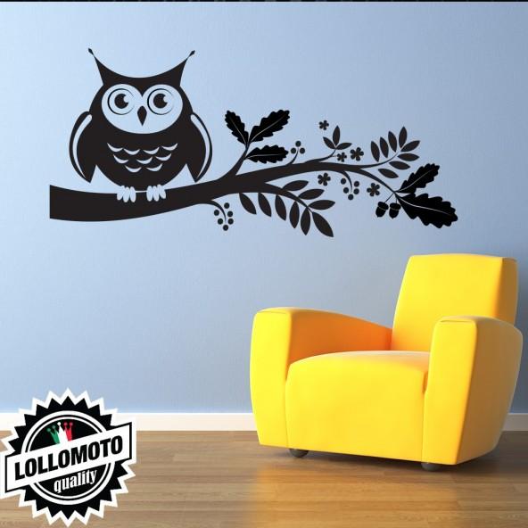 Gufo Sul Ramo Wall Stickers Adesivo Murale Owl Arredamento da Muro Interior Design Decal Arredamento
