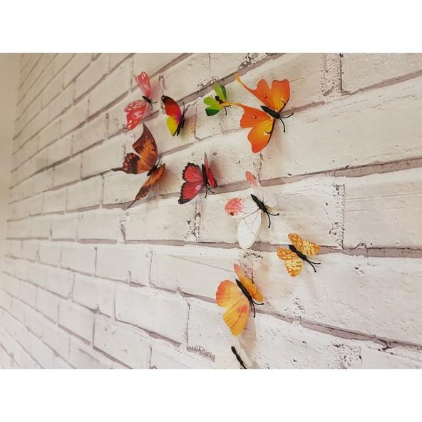 Kit 12 Pz Farfalle 3D Adesive Stickers da Muro o Cruscotto Auto Decal Composizione Matrimoni