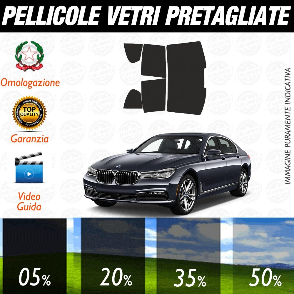 Bmw Serie 7 Long 02-08 Pellicole Oscuramento Vetri Posteriori Auto Pre Tagliate a Misura