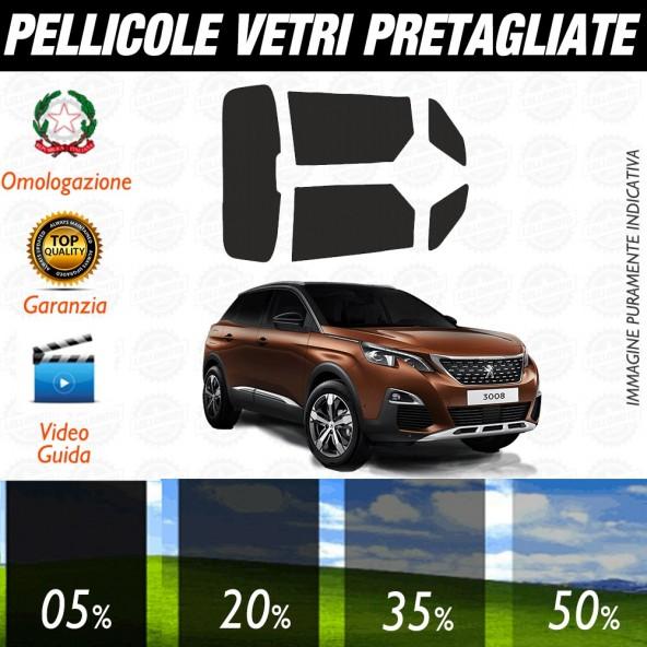 Peugeot 3008 09-16 Pellicole Oscuramento Vetri Auto Pre Tagliate a Misura Posteriore