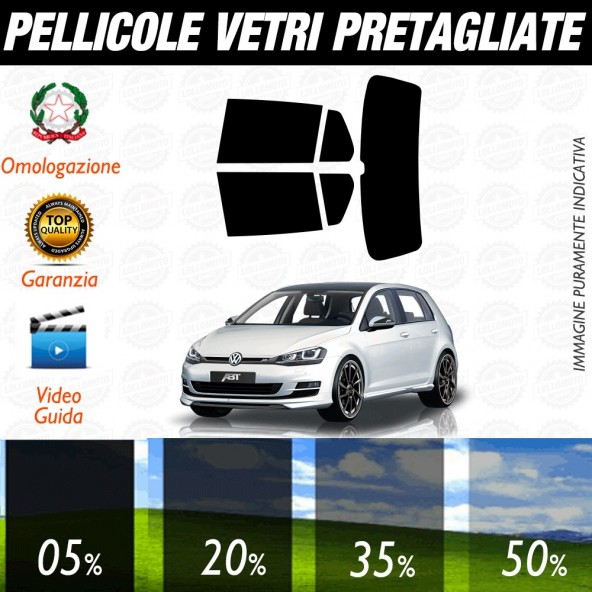 Volkswagen Golf 7 / GTI 5P dal 2012 ad OGGI Pellicole Oscuramento Vetri Auto Pre Tagliate a Misura