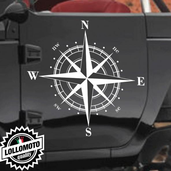 2x Rosa dei Venti Bussola Adesive Fuoristrada 4X4 Fiancate Cofano Jeep Suzuki Offroad Adesivi Stickers Fiancate Aut Decal