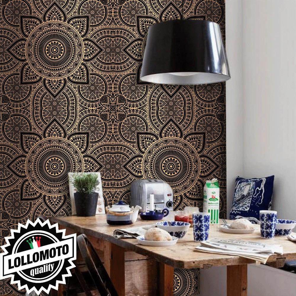 Acquista carta da parati damascata 3d nera interior design for Carta da parati damascata vendita on line