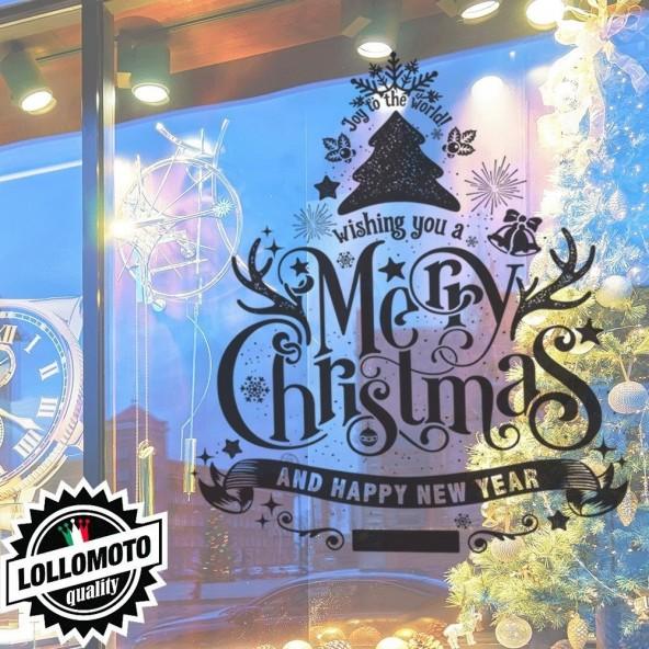 Natale Vetrofania Adesivi Negozi Merry Christmas Allestimento Vetrine Buone Feste Adesivi Stickers Decal