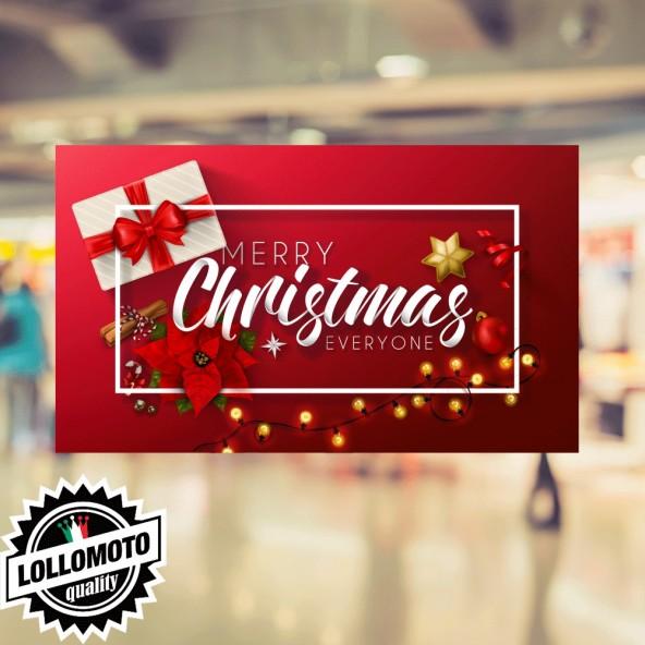 1x Adesivo Pacchi Regalo Colorati Stampati Allestimento Decorazione Vetrine Buone Feste Natale Adesivi Stickers Decal
