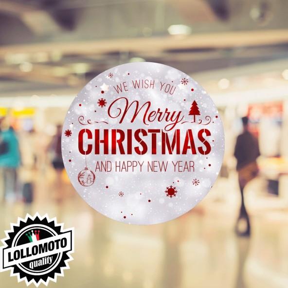 1x Adesivo Rettangolo Everyone Buone Feste Natale Allestimento Decorazione Vetrine Buone Feste Natale Adesivi Stickers Decal