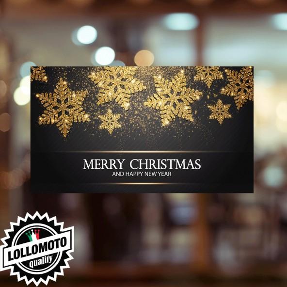2x Adesivi Cerchio Neve Buone Feste Natale Allestimento Decorazione Vetrine Buone Feste Natale Adesivi Stickers Decal