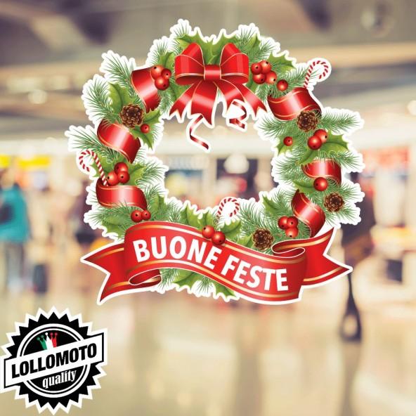 1x Adesivo Ghirlanda Natale Allestimento Vetrine Buone Feste Adesivi Christmas Stickers Decal