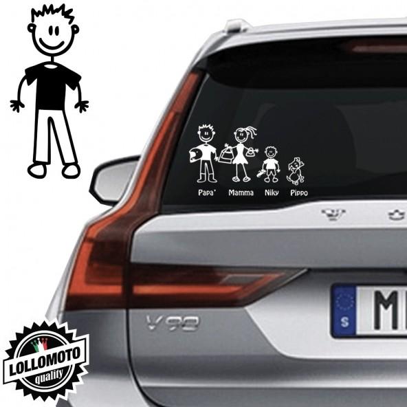 Papà Pantaloni Adesivo Vetro Auto Famiglia StickersFamily