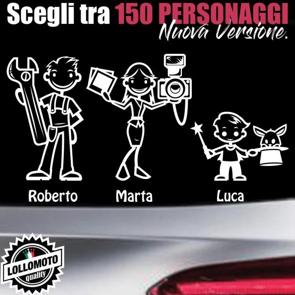StickMan© 2.0 Bianchi Adesivi Famiglia Auto Moto Camper Stickers Family Vetro Macchina Nuova Versione Decal