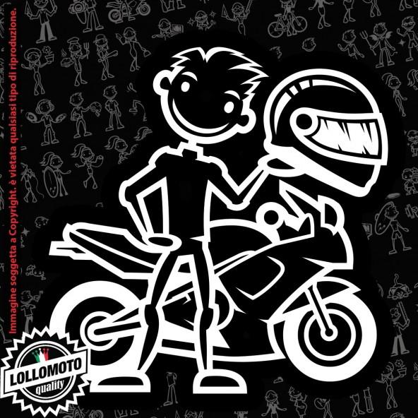 Papà Motociclista Moto StickMan© 2.0 Bianchi Adesivi Famiglia Vetro Auto Stickers Family Stickers Family Decal