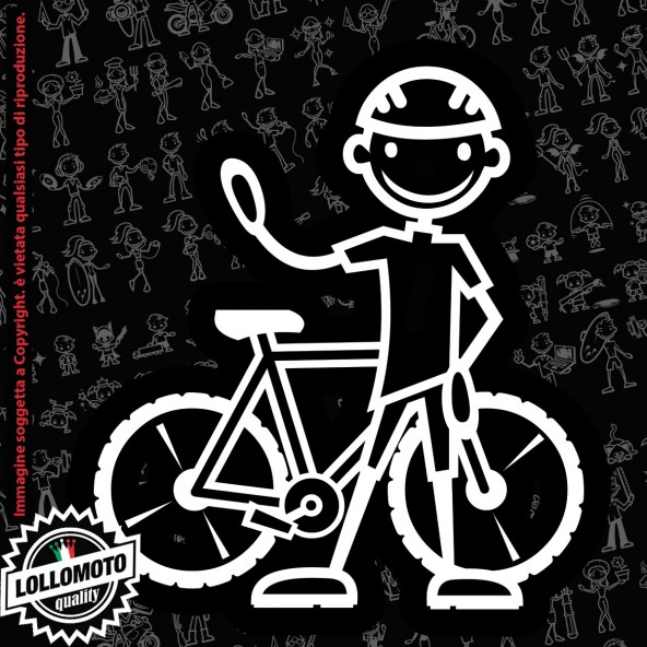 Papà Ciclista con Bici StickMan© 2.0 Bianchi e Neri Adesivi Famiglia Vetro Auto Stickers Family Stickers Family Decal