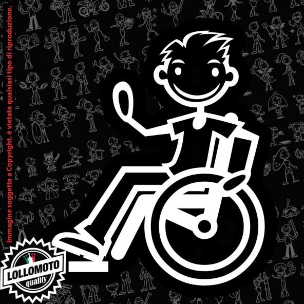 Papà Disabile con Fucile StickMan© 2.0 Bianchi e Neri Adesivi Famiglia Vetro Auto Stickers Family Stickers Family Decal