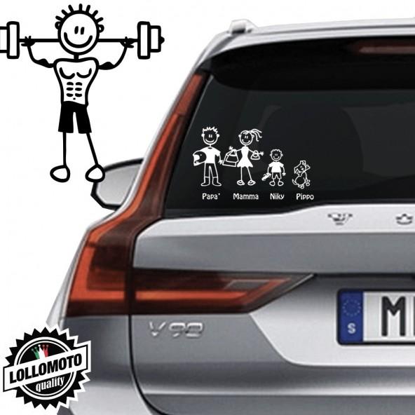 Papà Palestra Adesivo Vetro Auto Famiglia StickersFamily