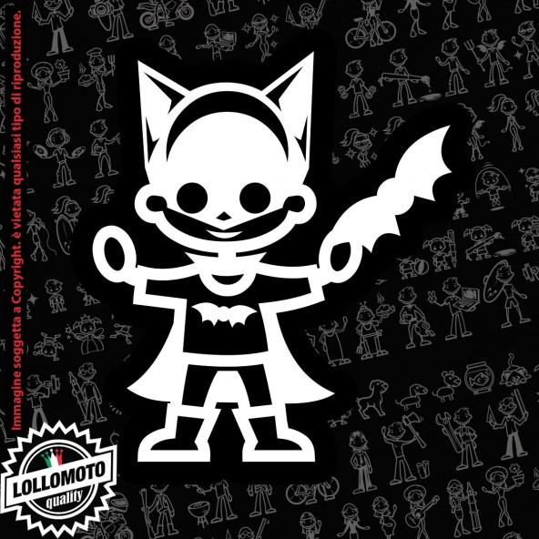 Bambino Pipistrello StickMan© 2.0 Bianchi e Neri Adesivi Famiglia Vetro Auto Stickers Family Stickers Family Decal