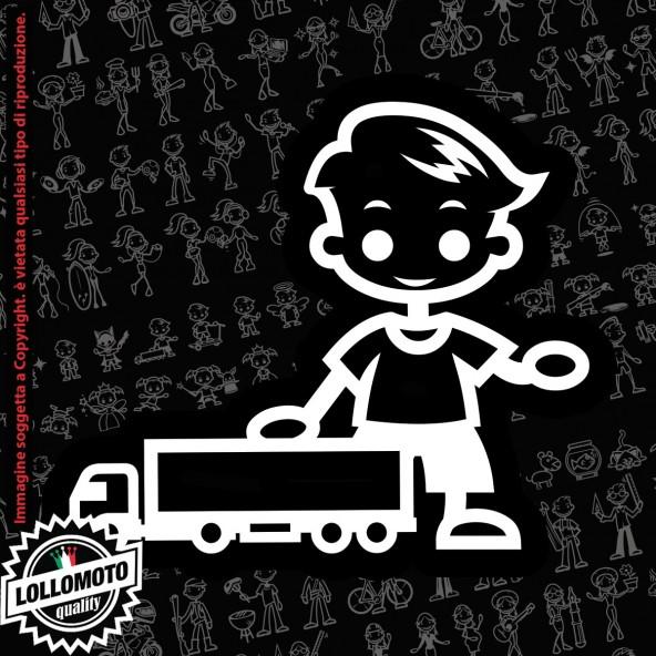 Bambino con CAMION StickMan© 2.0 Bianchi e Neri Adesivi Famiglia Vetro Auto Stickers Family Stickers Family Decal