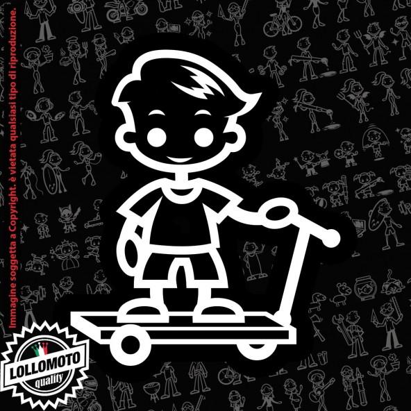 Bambino con monopattino StickMan© 2.0 Bianchi e Neri Adesivi Famiglia Vetro Auto Stickers Family Stickers Family Decal