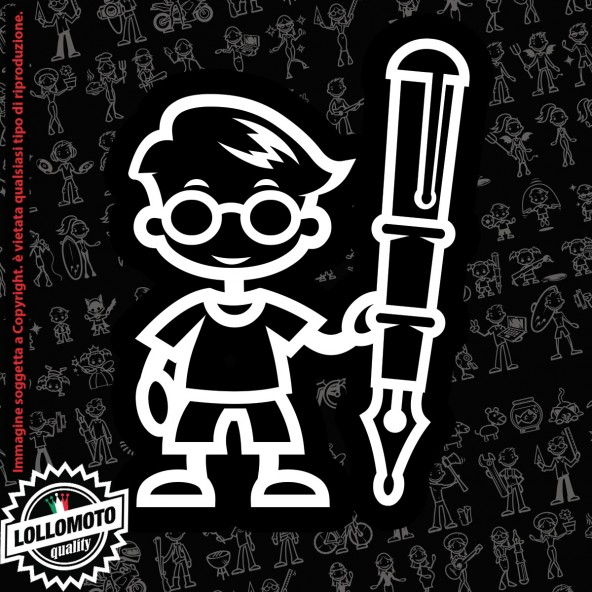 Bambino con Penna StickMan© 2.0 Bianchi e Neri Adesivi Famiglia Vetro Auto Stickers Family Stickers Family Decal