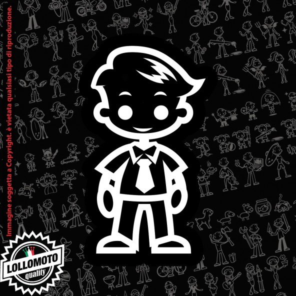 Bambino con Cravatta StickMan© 2.0 Bianchi e Neri Adesivi Famiglia Vetro Auto Stickers Family Stickers Family Decal