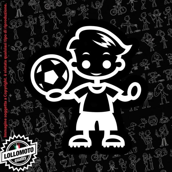 Bambino che Saluta StickMan© 2.0 Bianchi e Neri Adesivi Famiglia Vetro Auto Stickers Family Stickers Family Decal