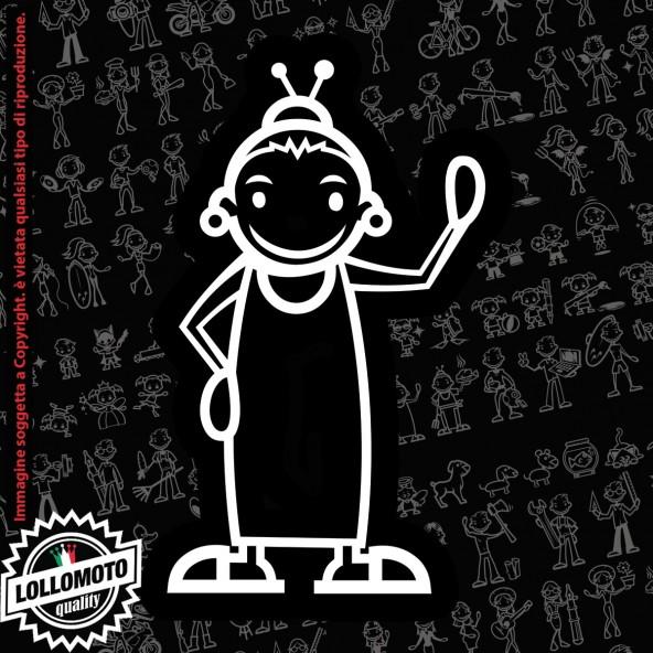 Nonno Disabile StickMan© 2.0 Bianchi e Neri Adesivi Famiglia Vetro Auto Stickers Family Stickers Family Decal