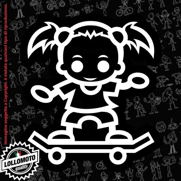 Bambina con Libro StickMan© 2.0 Bianchi e Neri Adesivi Famiglia Vetro Auto Stickers Family Stickers Family Decal