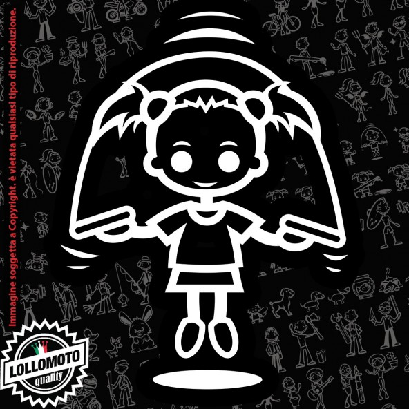 Bambina Karate StickMan© 2.0 Bianchi e Neri Adesivi Famiglia Vetro Auto Stickers Family Stickers Family Decal