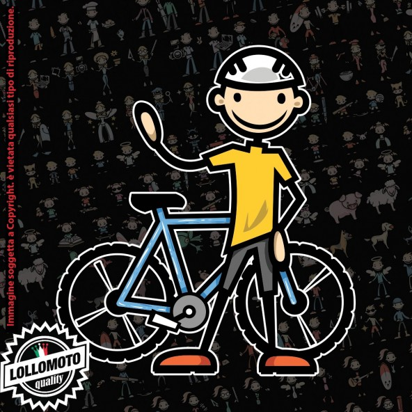 Papà con bici StickMan© 2.0 Colorati Adesivi Famiglia Vetro Auto Stickers Family Stickers Family Decal