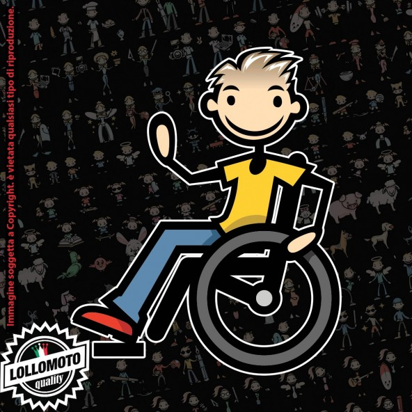 Papà Disabile con Fucile StickMan© 2.0 Colorati Adesivi Famiglia Vetro Auto Stickers Family Stickers Family Decal