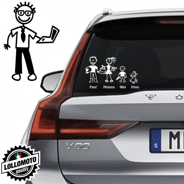 Papà Computer Adesivo Vetro Auto Famiglia StickersFamily Stickers Family Decal