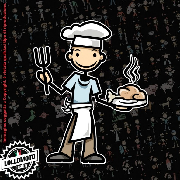 Papà cuoco StickMan© 2.0 Colorati Adesivi Famiglia Vetro Auto Stickers Family Stickers Family Decal