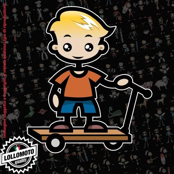 Bambino con Monopattino StickMan© 2.0 Colorati Adesivi Famiglia Vetro Auto Stickers Family Stickers Family Decal