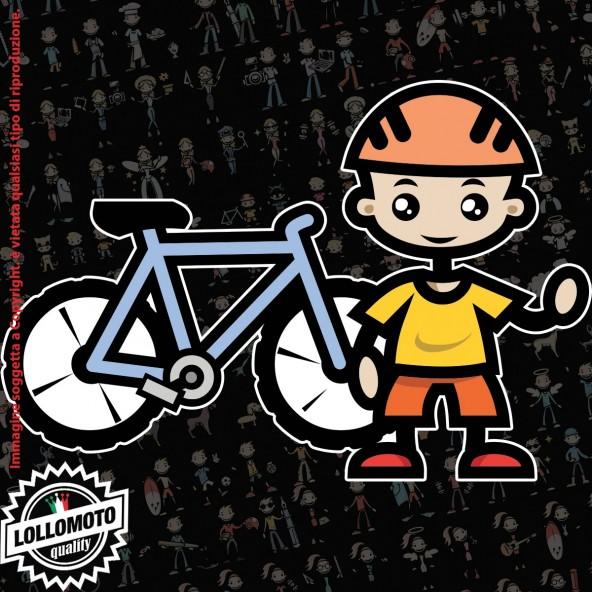 Bambino Ciclista StickMan© 2.0 Colorati Adesivi Famiglia Vetro Auto Stickers Family Stickers Family Decal