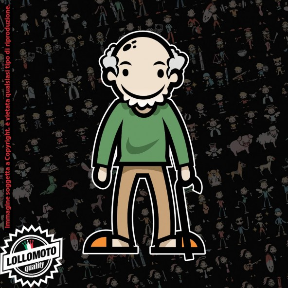 Nonno con bastone StickMan© 2.0 Colorati Adesivi Famiglia Vetro Auto Stickers Family Stickers Family Decal