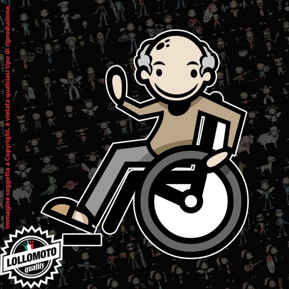 Nonno Disabile StickMan© 2.0 Colorati Adesivi Famiglia Vetro Auto Stickers Family Stickers Family Decal