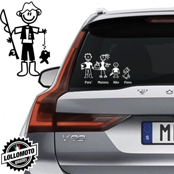 Papà Pescatore Vetro Auto Famiglia StickersFamily Stickers