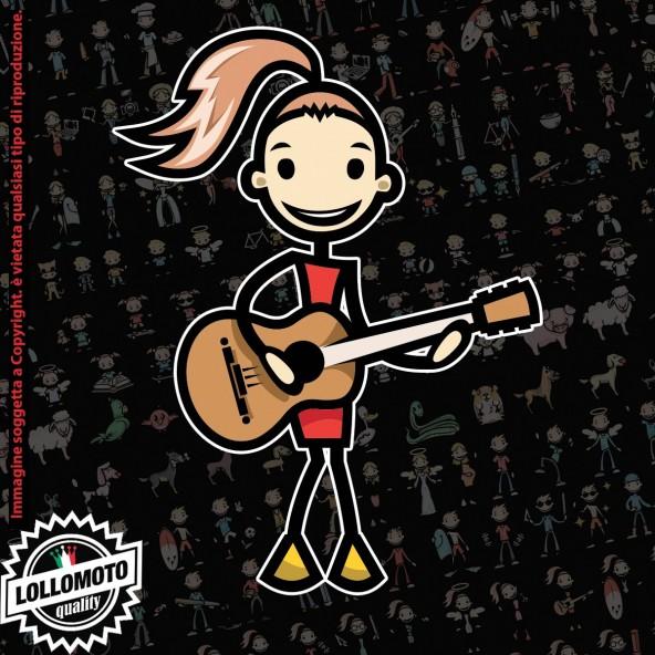Ragazza con chitarra StickMan© 2.0 Colorati Adesivi Famiglia Vetro Auto Stickers Family Stickers Family Decal
