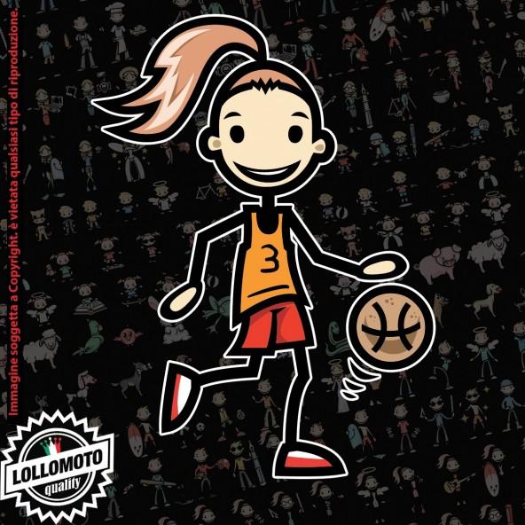 Ragazza basket StickMan© 2.0 Colorati Adesivi Famiglia Vetro Auto Stickers Family Stickers Family Decal
