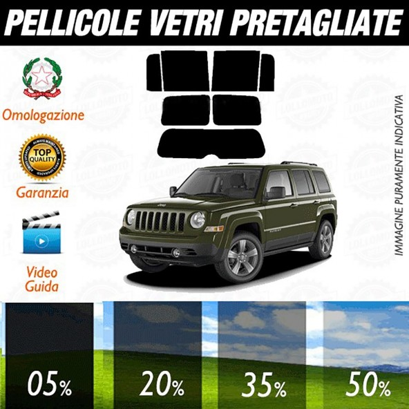 Jeep Patriot dal 2007 al 2010 Pellicole Oscuramento Vetri Auto Pre Tagliate a Misura