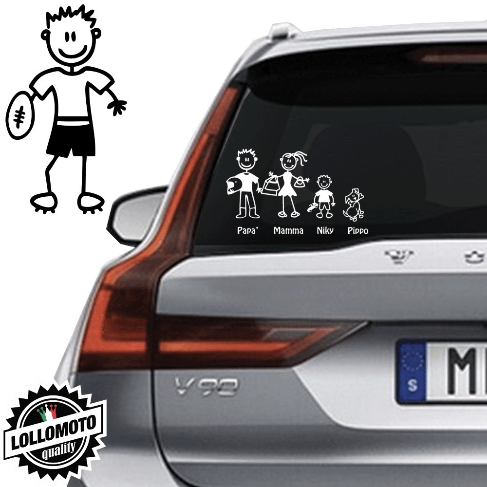 Papà Rugby Vetro Auto Famiglia StickersFamily Stickers Family