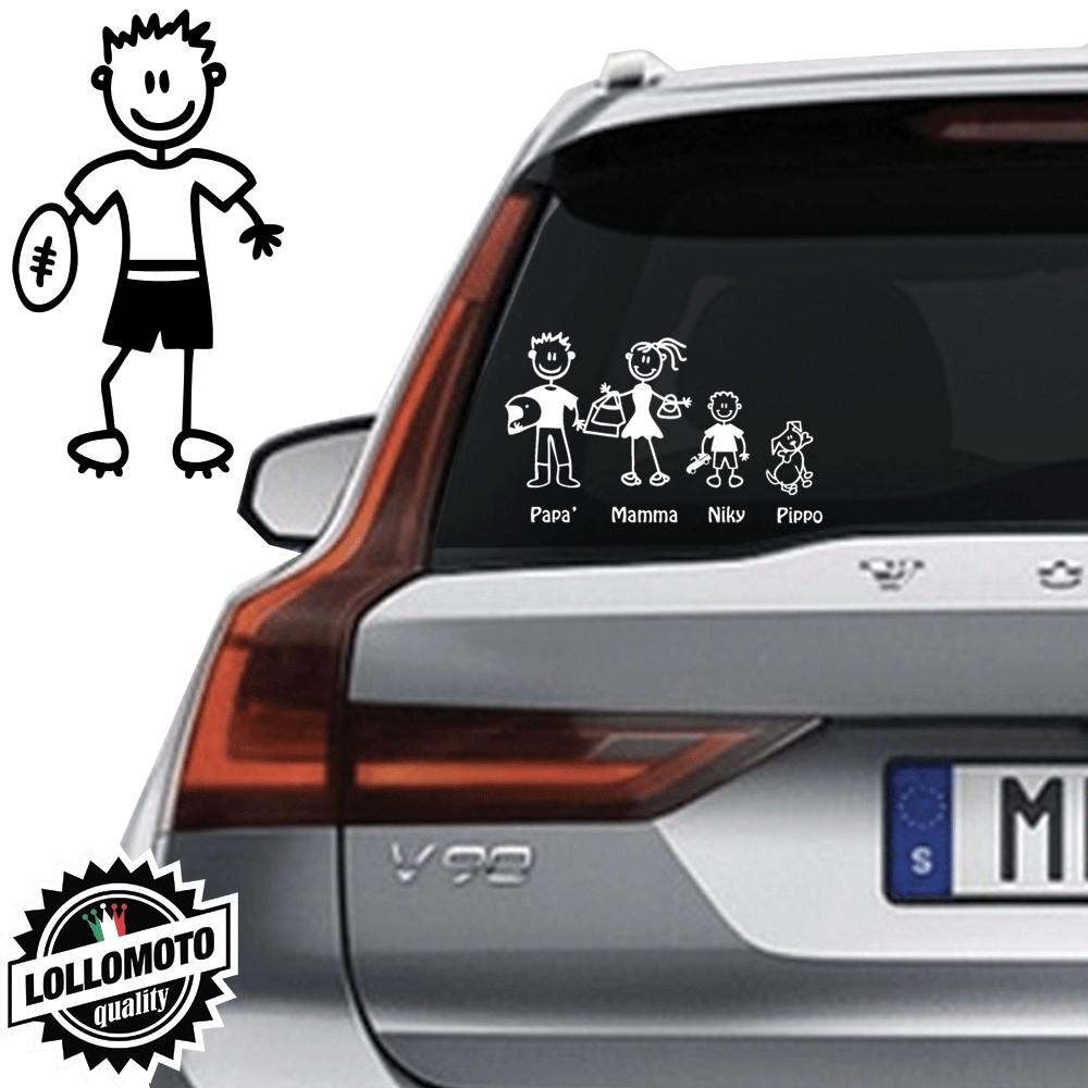 Papà Rugby Vetro Auto Famiglia StickersFamily Stickers Family