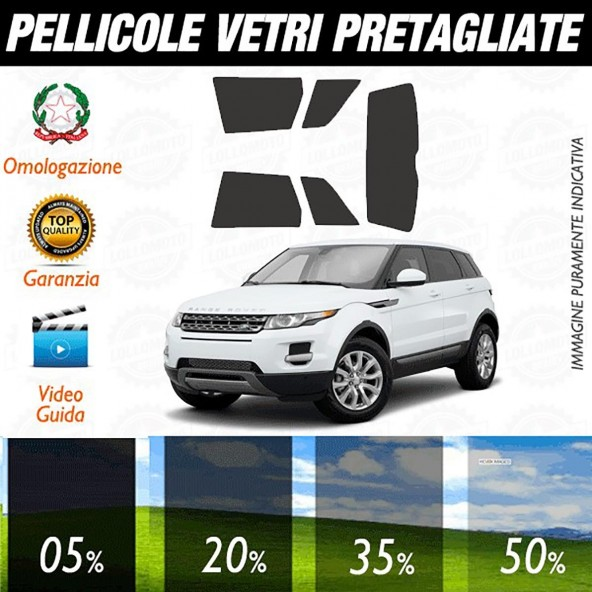 Land Rover Evoque 5P dal 2011 ad OGGI Pellicole Oscuramento Vetri Auto Pre Tagliate a Misura