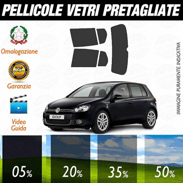 Volkswagen Golf 6 / GTI 5P dal 2008 al 2012 Pellicole Oscuramento Vetri Auto Pre Tagliate a Misura
