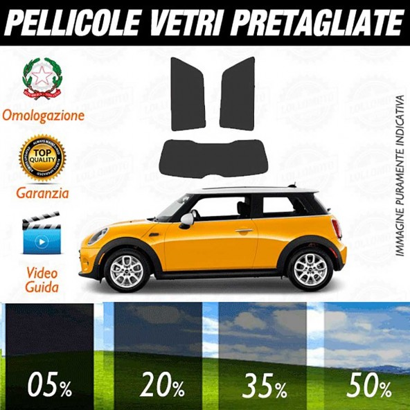 Mini Cooper 3P / S / One / One D / SD dal 2014 ad OGGI Pellicole Oscuramento Vetri Auto Pre Tagliate a Misura