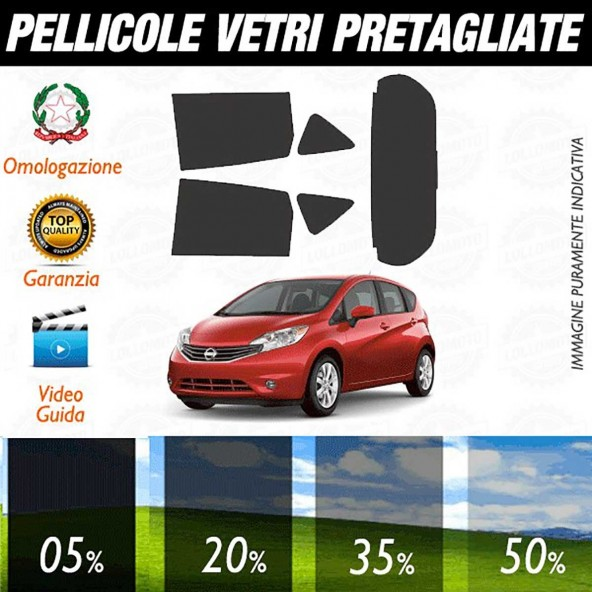 Nissan Note dal 2013 ad OGGI Pellicole Oscuramento Vetri Auto Pre Tagliate a Misura